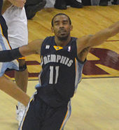 Mike Conley with his arms spread