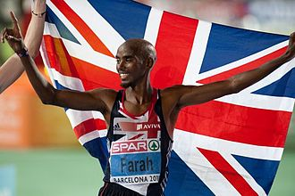 Mo Farah - Farah celebrating winning the 10,000 m at the 2010 European Athletics Championships