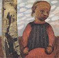 Modersohn-Becker - Mädchen in rotem Kleid am Baumstamm vor Wolkenhimmel.jpeg