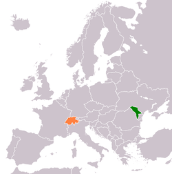 Map indicating locations of Moldova and Switzerland