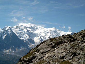 Edward Shirley Kennedy - Mont Blanc. The Goûter ridge, partially climbed by Kennedy and party, takes the centre skyline.
