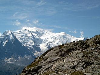 Dôme du Goûter - Mont Blanc (centre left) and the Dôme du Goûter (right)