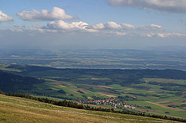 Diesse - View from the Chasseral toward Diesse village and Nods