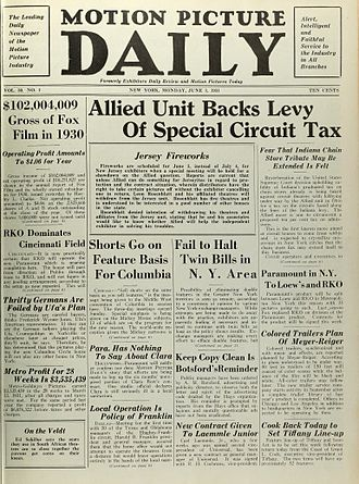 Motion Picture Daily - Front page from the premiere issue, June 1, 1931