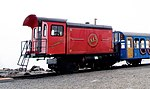 Mount Washington Cog Railway, biodiesel engine Abenaki at the Summit of Mount Washington, 2012.jpg
