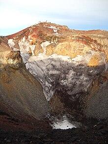 Il cratere principale del Monte Fuji.