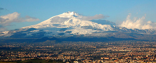 The Mount Etna is an active stratovolcano in Sicily. Mt Etna and Catania1.jpg