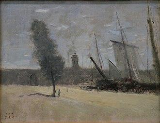 Museum of modern art André Malraux - MuMa - Image: Mu MA Corot Dunkerque, remparts et porte d'entrée du port