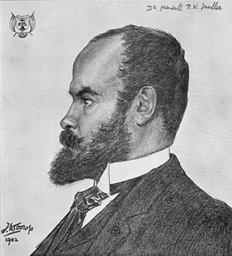 Hendrik Pieter Nicolaas Muller - Drawing of Dr. H.P.N. Muller as consul general of the Orange Free State. Artist: Jan Toorop, 1902