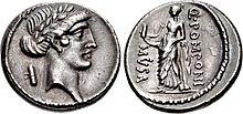 Muse Clio, Denarius, 56 B.C., Rome.jpg