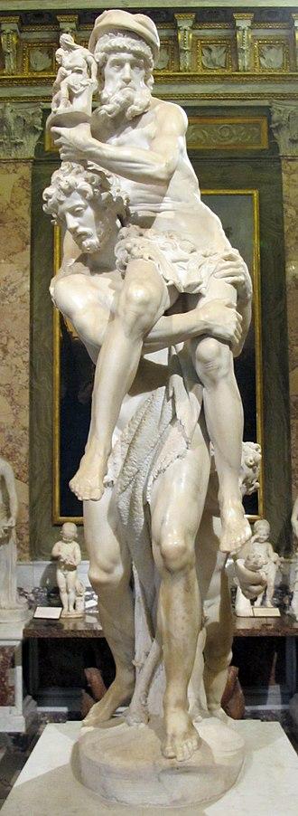 Aeneas, Anchises, and Ascanius - Image: Museo borghese, sala del gladiatore, g.l. bernini, enea, anchise e ascanio, 1618 20, 02