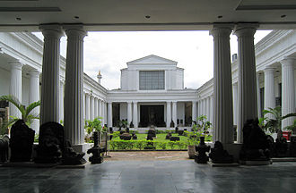National Museum of Indonesia - The peristyle (inner courtyard) of the National Museum, features Doric order Greek architecture.