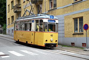 Bergen's Electric Tramway - A former East Berlin tram operating on the Bergen heritage tramway in 2009