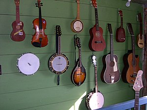 Plucked string instrument - Stringed instruments hanging on a wall. Shown here are 4 Lookoeos, 2 mandolins, a banjo, a guitar, a violin, a Guraitar and a bass guitar.