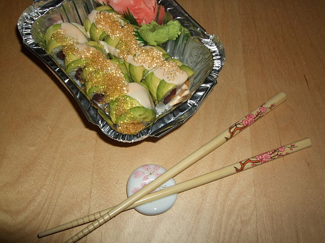 My new chopsticks and chopsticks rest that I bought in San Francisco