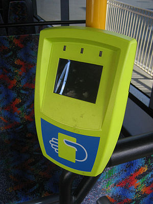 Myki - First generation Myki fare payment device on board a bus in Geelong