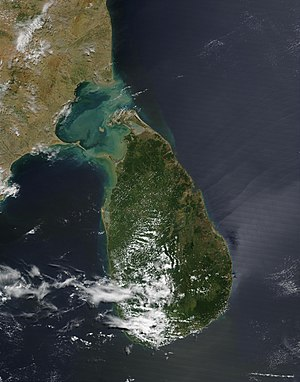 Deforestation in Sri Lanka - NASA satellite view of Sri Lanka revealing sparser areas of forest to the north and east of the island
