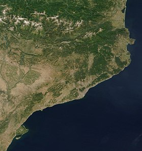 Photo satellitaire de la Catalogne