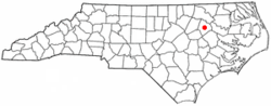 Location of Tarboro, North Carolina