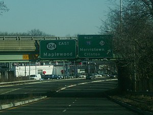 New Jersey Route 124 - Eastbound Route 124 at exit for westbound Interstate 78 in Springfield Township.