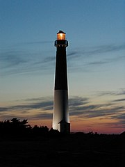 Barnegat Lighthouse, a classic coastal lighthouse built by George Meade on Long Beach Island New Jersey