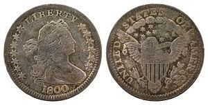 Half dime - 1800 Draped Bust half dime with heraldic eagle reverse