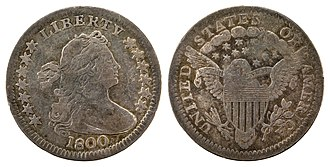 Half dime - 1800 Draped Bust half dime with heraldic eagle reverse