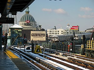 Chrystie Street Connection - The Williamsburg Bridge and two trains on it, seen from the Marcy Avenue station