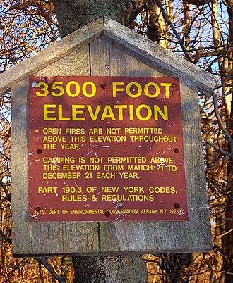 Catskill High Peaks - DEC sign listing High Peak regulations