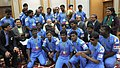 Narendra Modi meeting the members of the Indian Blind World Cup Winning Team, in New Delhi. The Union Minister for Chemicals and Fertilizers.jpg