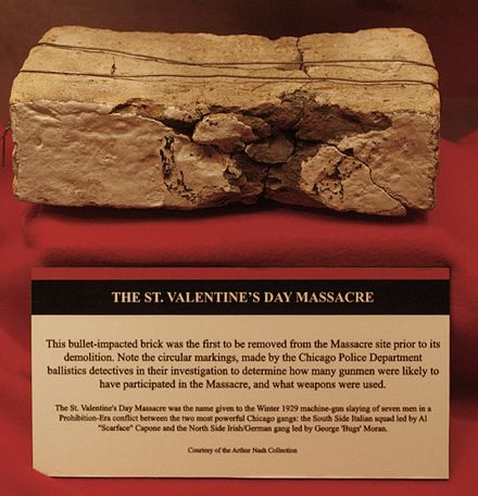 National Museum of Crime and Punishment, Saint Valentine's Day Massacre brick (2868502113) National Museum of Crime and Punishmen - Saint Valentine's Day Massacre brick (2868502113).jpg