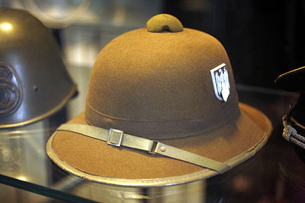 German pith helmet in olive drab - World War II German uniform