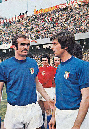 Sandro Mazzola - Mazzola playing for Italy alongside Gianni Rivera; the two players would be involved in manager Ferruccio Valcareggi's infamous staffetta policy at the 1970 World Cup.