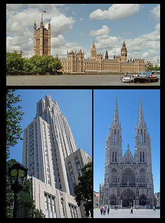 Notable Neo-Gothic edifices: top - Palace of Westminster, London; left - Cathedral of Learning, Pittsburgh; right - Sint-Petrus-en-Pauluskerk, Ostend Neo-Gothic001.jpg