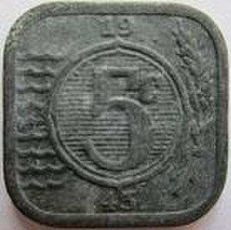 5 cents (World War II Dutch coin) - Image: Netherlands 5 cents 1943 reverse