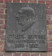 Gedenkplaat van Cyriel Buysse aan zijn voormalige woning in Nevele.