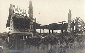 Nevill Ground - The Nevill Ground pavilion after the 1913 arson attack