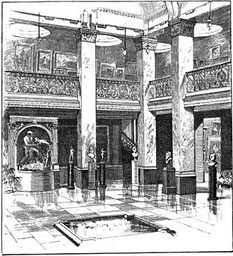 New Gallery (London) - Central Hall of the New Gallery, from the catalogue New Gallery Notes, Summer 1888.