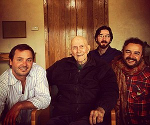 New Monasticism - New Monastics Rory McEntee, Netanel Miles-Yepez, and Adam Bucko with Father Thomas Keating at St. Benedict's monastery, Snowmass, CO, 2014