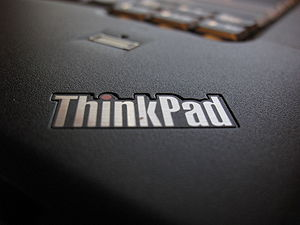 The logo on a Lenovo Thinkpad W500 4058-CTO laptop