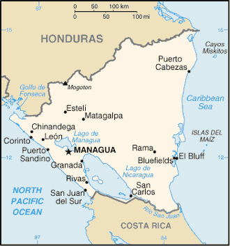 Water resources management in Nicaragua - Map of Nicaragua