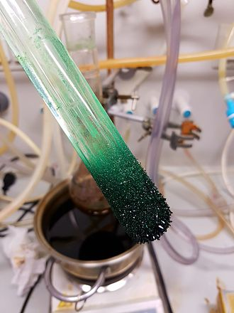 Sublimation (phase transition) - Dark green crystals of nickelocene, sublimed and freshly deposited on a cold finger