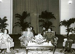 Nicolae Ceaușescu with Pol Pot