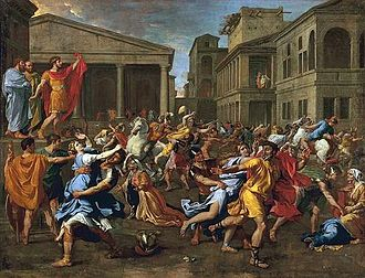 Bride kidnapping - L'enlèvement des Sabines (1637–38) by Nicolas Poussin: the mythological abduction of the Sabines has been a theme in Western art