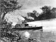 Drawing of a paddle steamer travelling the Murray at night, c.1880