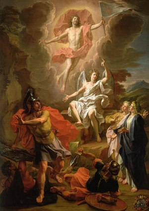 Historicity of Jesus - The Resurrection of Christ by Noel Coypel (1700)—Some myth theorists see this as a case of a dying-and-rising god.