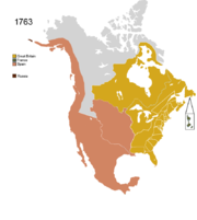 Map showing Non-Native American Nations Control over N America c. 1763