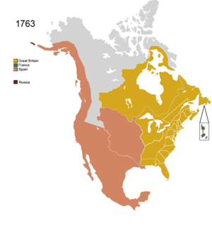 Territorial evolution of North America since 1763 - Image: Non Native Nations Claim over NAFTA countries 1763