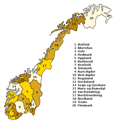 Counties of Norway between 1972 and 2018 Norges valgkretser.png