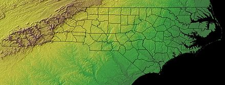 North Carolina topographic map. North Carolina's three topographic regions are evident: the Appalachian Mountains in brown, the Piedmont in yellow, and the Atlantic Coastal Plain in green. North carolina topographic.jpg
